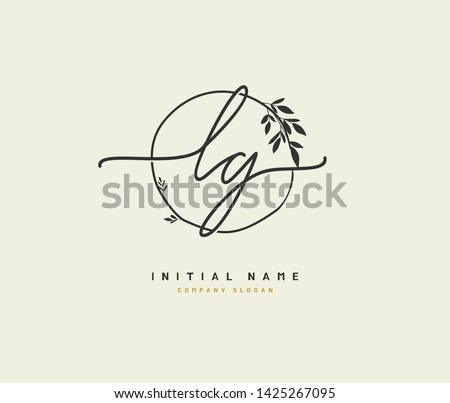 L G LG Beauty vector initial logo, handwriting logo of initial signature, wedding, fashion, jewerly, boutique, floral and botanical with creative template for any company or business. Stok fotoğraf ©