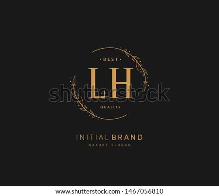 L H LH Beauty vector initial logo, handwriting logo of initial signature, wedding, fashion, jewerly, boutique, floral and botanical with creative template for any company or business. Stock fotó ©