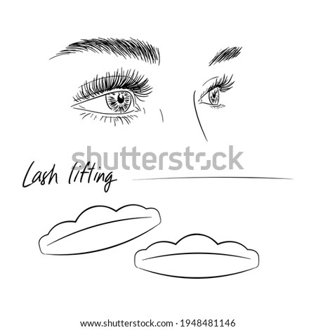 L-shaped eyelash lifting. Illustration of eyes and tools. Stock fotó ©