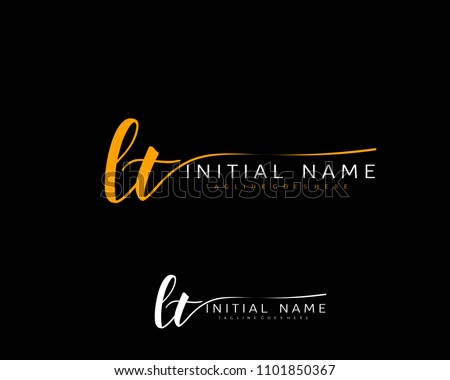L T Initial handwriting logo vector. Hand lettering for designs.