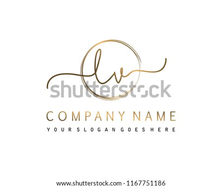 L V Initial handwriting logo vector