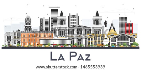 La Paz Bolivia City Skyline with Color Buildings Isolated on White. Vector Illustration. Business Travel and Tourism Concept with Historic Architecture. La Paz Cityscape with Landmarks.