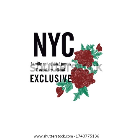 La ville qui ne dort jamais I´aventure attend Exlusive in french. The city that never sleeps The adventure awaits Exlusive text Red Roses NYC Stok fotoğraf ©