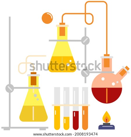 Lab Chemistry Kit includes Bigger, Stand, Red and Yellow Chemical, volume metric flash, test tube, burner, flame burner, bubble chemical in laboratory , vector chemical , laboratory chemical vector