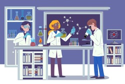 Lab research graphics. Scientists working in laboratory. Science experiment. Development vaccine or drug of coronavirus. Scientific interior - chemical, physical, medical or microbiology technology.