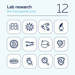 Lab research line icon set. Bacteria, virus, test tube, microscope. Science concept. Can be used for topics like medicine, laboratory, chemistry, microbiology