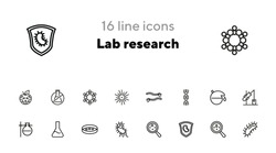 Lab research line icon set. Beaker, bacteria, dna. Science concept. Can be used for topics like microbiology, genetics, virus