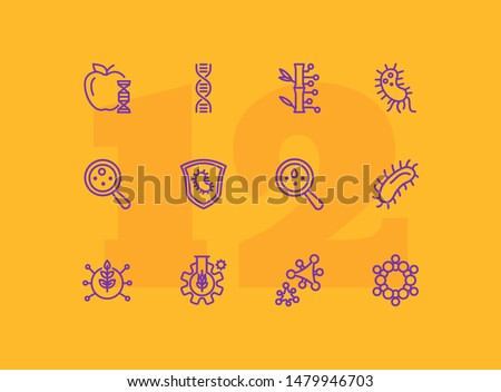 Lab research line icon set. Food, dna, bacteria. Science concept. Can be used for topics like genetics, microbiology, laboratory