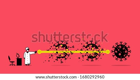 Lab scientist destroy and defeat coronavirus virus after finding the solution and breakthrough research. Vector illustration concept of scientist destroy virus with fireball in anime manga style.
