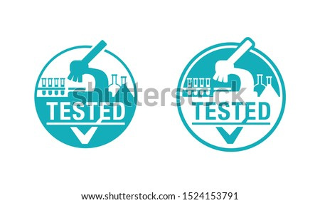 Lab tested sign - laboratory equipment (testing flasks and microscope) intergated in stamp circle - isolated vector element for clinically proven food and pharmacy products