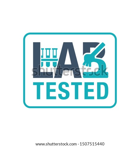 Lab tested sign - laboratory equipment (testing flasks and microscope) intergated in word - B letter science logo - isolated vector stamp for clinically proven food and pharmacy products