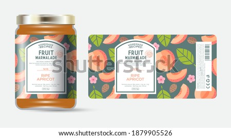 Label and packaging of apricot marmalade. Jar with label. Text in frame with stamp (sugar free) on seamless pattern with fruits, flowers and leaves.