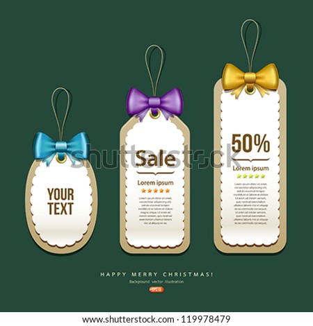 Label and Tag, Colorful ribbons Merry Christmas design, vector illustration