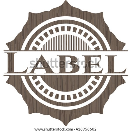Label badge with wooden background