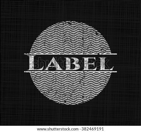 Label chalk emblem, retro style, chalk or chalkboard texture