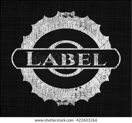 Label chalkboard emblem on black board