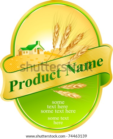 label design with wheat and