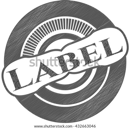 Label emblem drawn in pencil