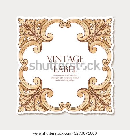 Label for products or cosmetics in In rococo style, in renaissance style, in baroque style, vintage, old, retro style. Stock vector illustration.
