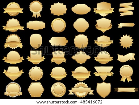 Label gold vector icon set on black background. Ribbon isolated shapes illustration of gift and accessory. Christmas sticker and decoration for app and web. Banner, badge and borders collection.