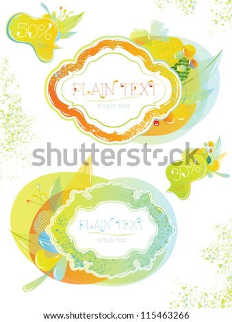 Label in the vegetable mix style soft warm spray paint design elements