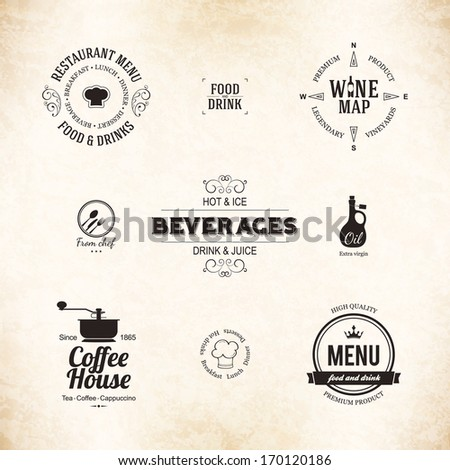 Label logo set for restaurant menu design