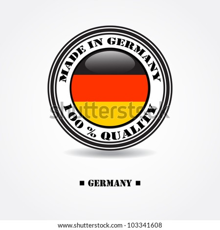 """Label """"made in Germany 100% quality"""" with Germany flag in rubber stamp"""