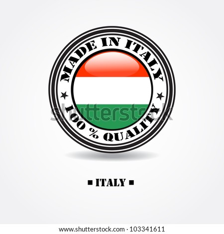 "Label ""made in Italy 100% quality"" with Italian flag in rubber stamp"