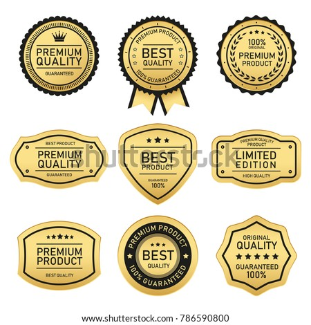 label of best quality and premium quality stock vector
