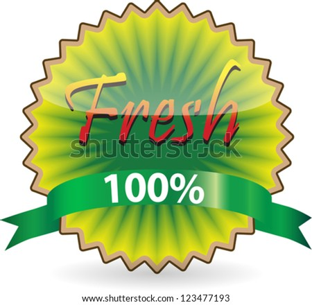Label of Fresh concept like kiwi with green ribbon. Vector illustration