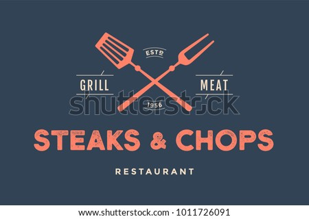label of restaurant with grill...