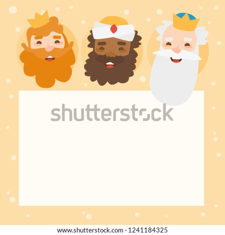 Label of The three kings of orient, Melchior, Gaspard and Balthazar. Funny vectorized letter.