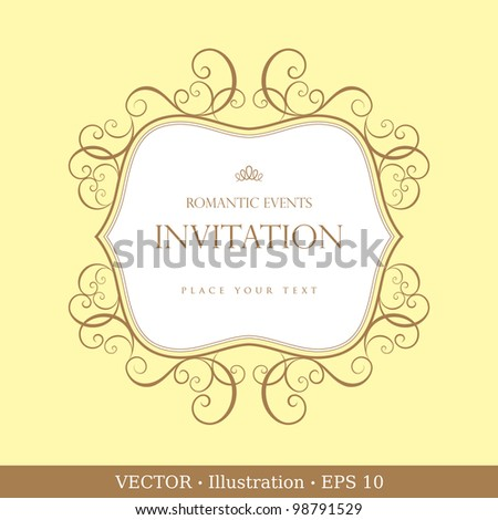 Label or Invitation vintage card.  Wedding or Valentine`s Day.  Vector
