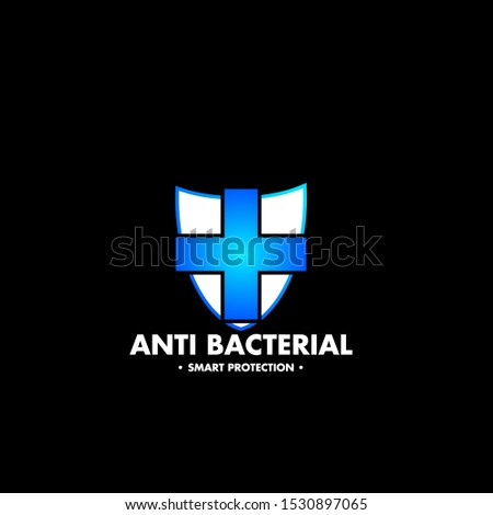 label or logo Anti bacteria for healthy product like as soap, toothpaste and mouthwash,Green Stop virus, bacteria, germs and microbe icon isolated on white background. Antibacterial and antiviral