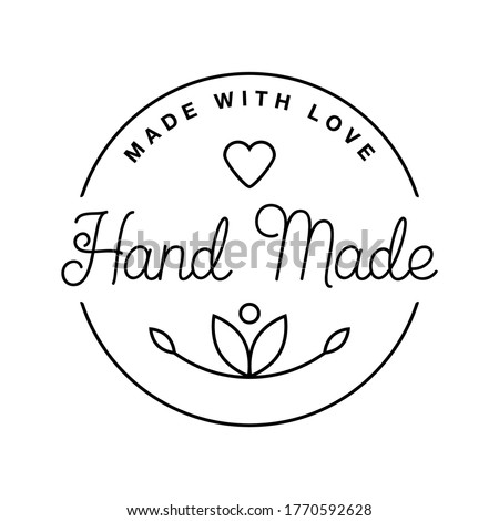 Label or logo with lettering hand made. Vector flat illustrations. Modern and stylish badge. Thin line inscription handmade, made with love, craft product on white. Photo stock ©