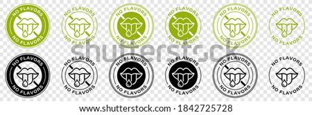 Label or stamp on food packaging. Labeling - Flavored. Information sticker. No flavors. No added flavor enchancers. Does not contain flavor enhancers. Vector illustration.