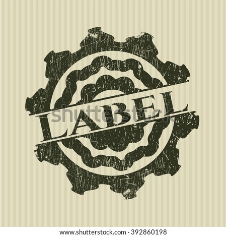 Label rubber stamp with grunge texture