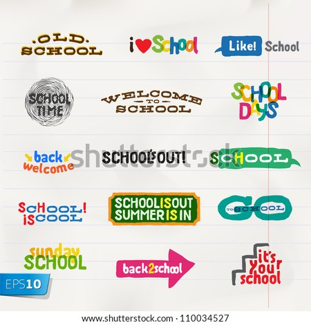 Label - School Icons, vector Eps10 illustration.