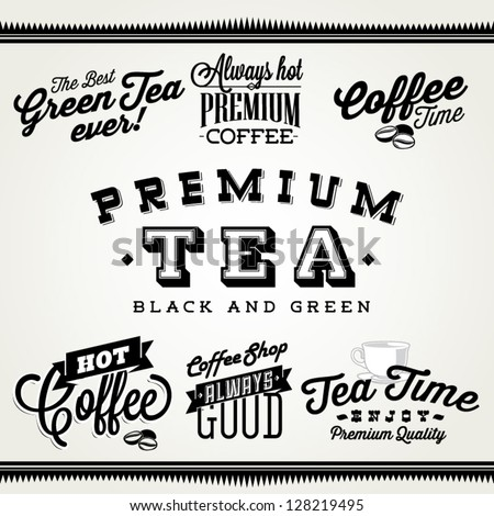 Label set for coffee shot and tea house