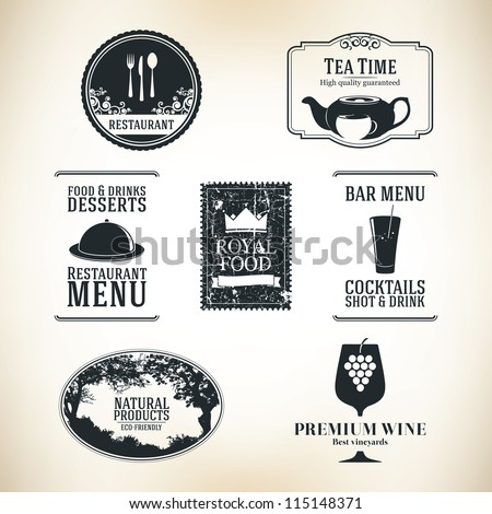 Label set for restaurant and cafe