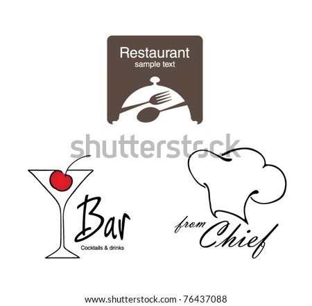 Label set for restaurant cafe and bar