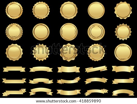 Label vector icon set gold color on black background. Ribbon isolated shapes illustration of gift and accessory. Christmas sticker and decoration for app and web. Banner, badge and borders collection.