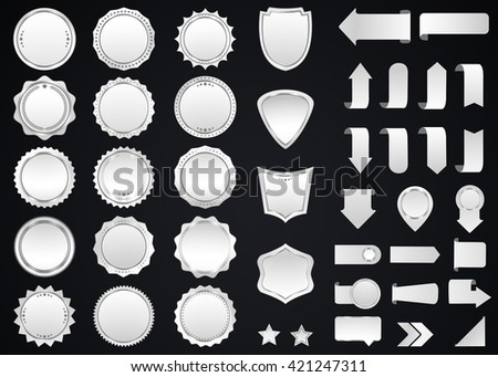 Label vector icon set silver color on black background. Ribbon isolated shapes illustration  gift and accessory. Christmas sticker and decoration for app and web. Banner, badge and borders collection.