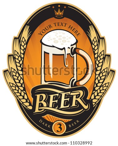 label with a glass of beer and a wreath of wheat ears - stock vector