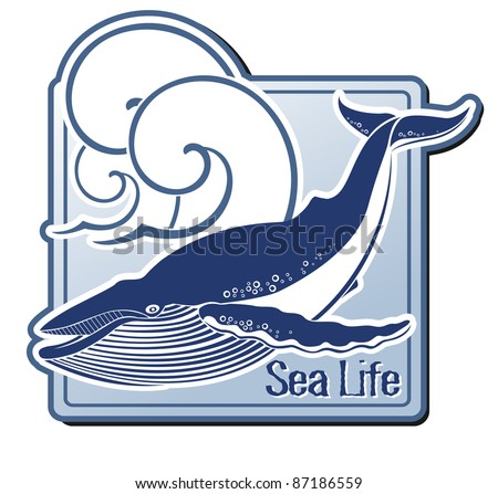 Label with a whale