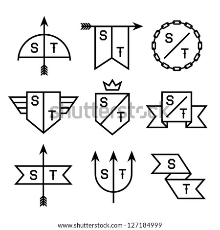 label with chain, shield, arrow, trident