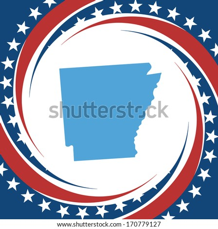 label with map of arkansas ...