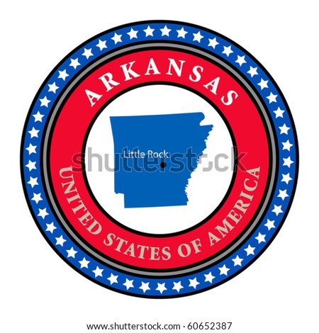 Label with name and map of Arkansas, vector illustration