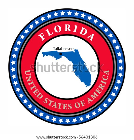 Label with name and map of Florida, vector illustration