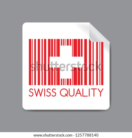 Label with red Barcode and swiss flag and text -swiss quality, stock vector illustration.